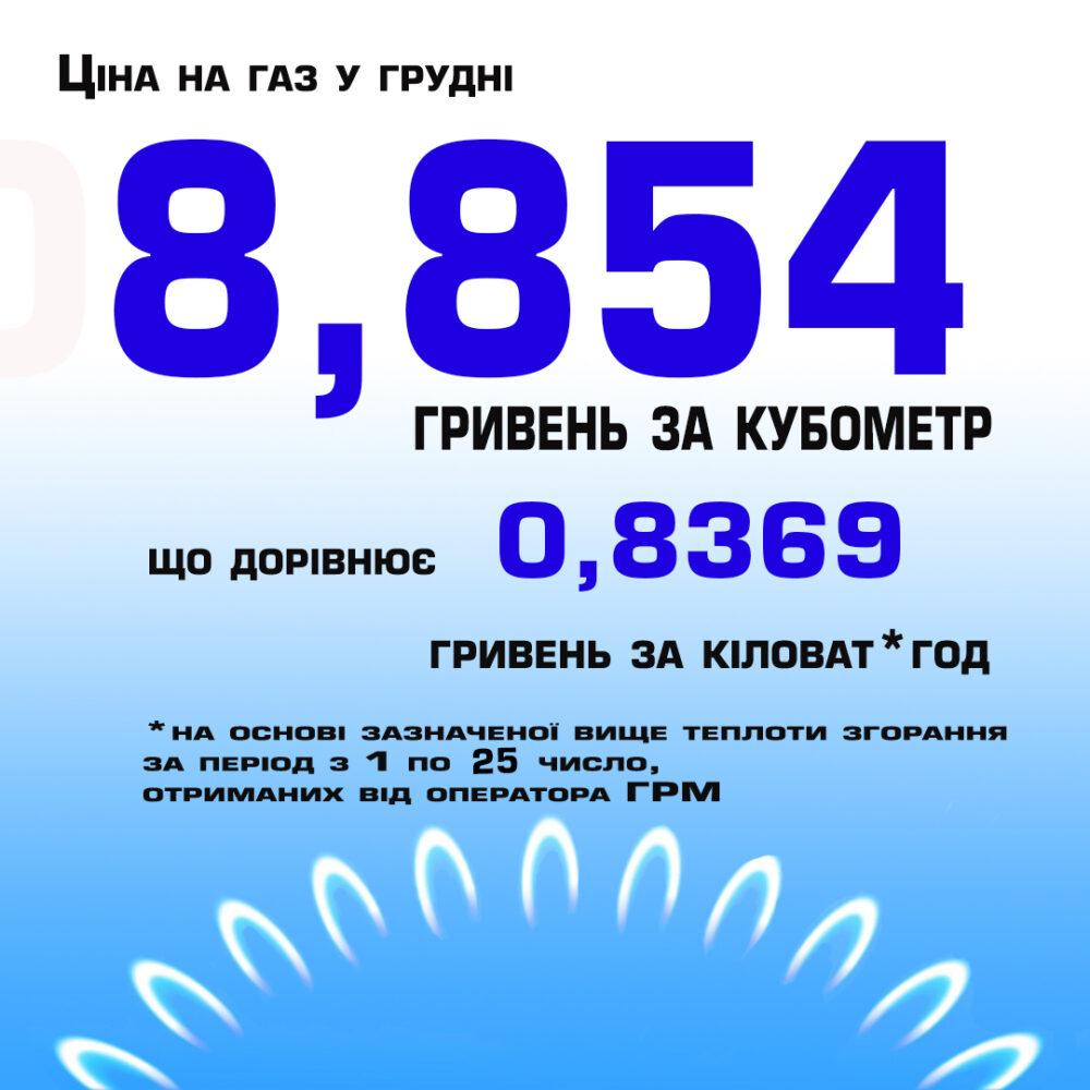 Скільки вінничани платитимуть за газ у грудні